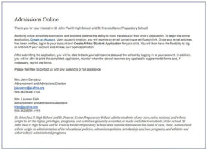 admissions online